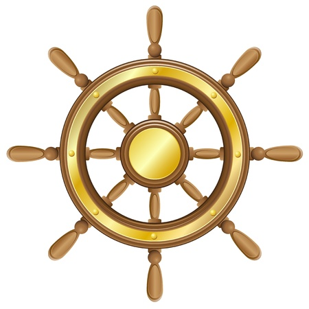Kierownica dla ilustracji wektorowych statku wyizolowanych na białym tle