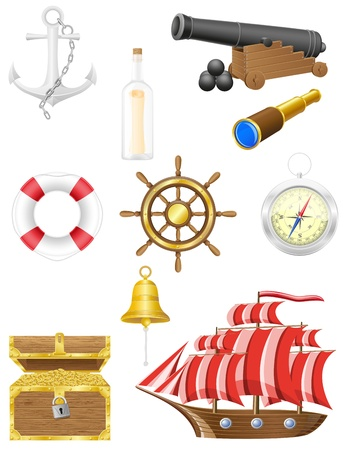 scroll wheel: set of sea antique icons vector illustration isolated on white background