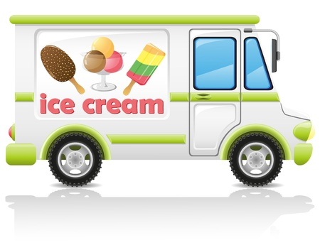 enjoyment: car carrying ice cream illustration isolated on white background Stock Photo