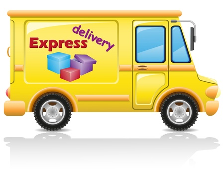 delivery service: car express delivery of mail and parcels illustration isolated on white background Stock Photo