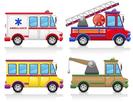 camion pompier: illustration jeu de voiture ic�ne isol� sur fond blanc