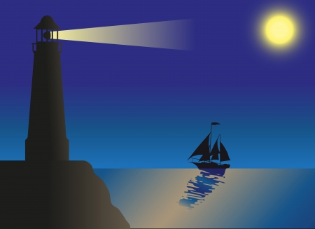 lighthouse at night: lighthouse silhouette against the sky and the sea illustration Stock Photo