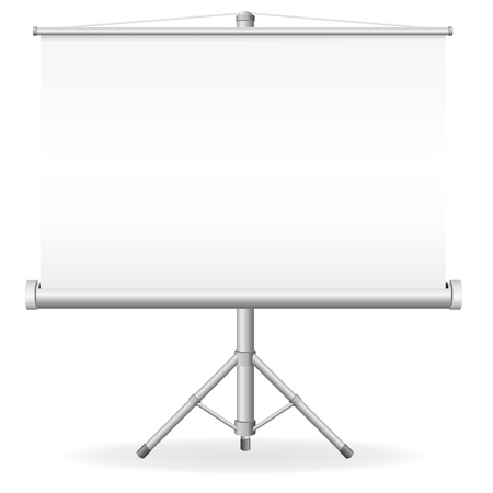 slideshow: blank portable projection screen illustration isolated on white background Stock Photo