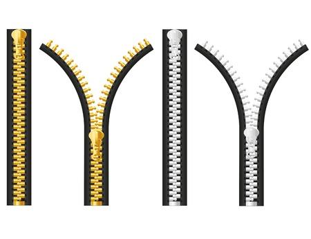 closure: zipper illustration isolated on white background