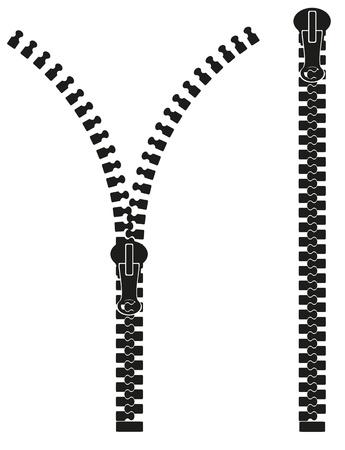 ilustraci�n silueta cremallera aislada en el fondo blanco