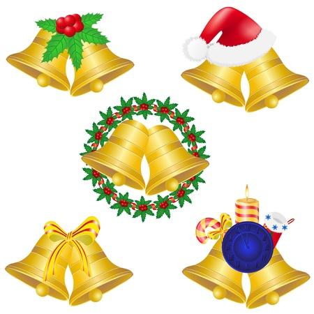jingle bells: christmas bells set icons illustration isolated on white background