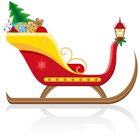 navidad trineo de Pap� Noel con regalos ilustraci�n aislado sobre fondo blanco
