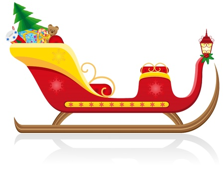 christmas sleigh of santa claus with gifts illustration isolated on white background illustration