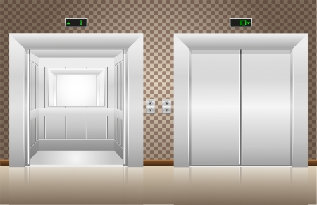 two elevator doors open and closed illustration illustration