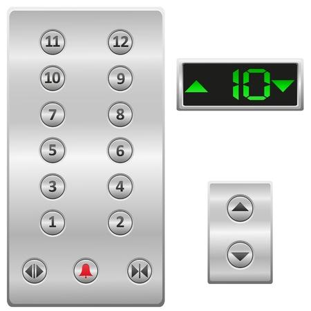 승강기: 엘리베이터 버튼 패널 그림 흰색 배경에 고립