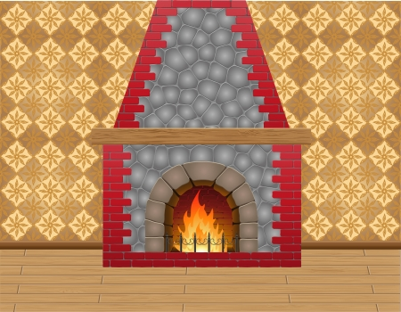 fireplace in the room illustration Stock Illustration - 16445839