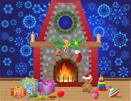 stone fireplace: fireplace room with christmas gifts and decorations illustration Stock Photo