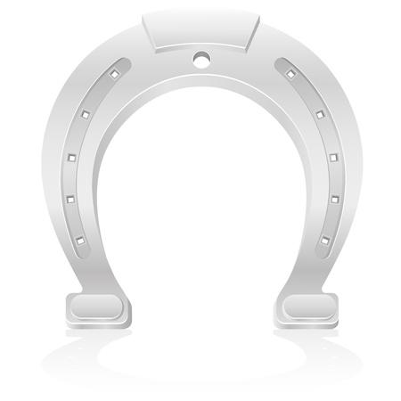 talism�n: ilustraci�n herradura de plata encanto talism�n aislado sobre fondo blanco