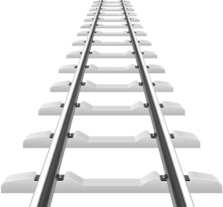 sleepers: rails with concrete sleepers illustration isolated on white background