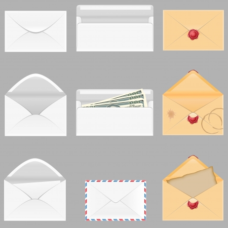 set icons paper envelopes illustration isolated on gray background illustration