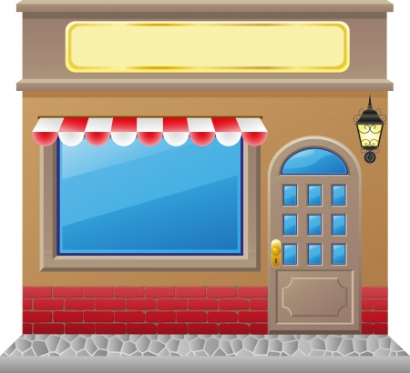 boutique display: shop facade with a showcase illustration Stock Photo