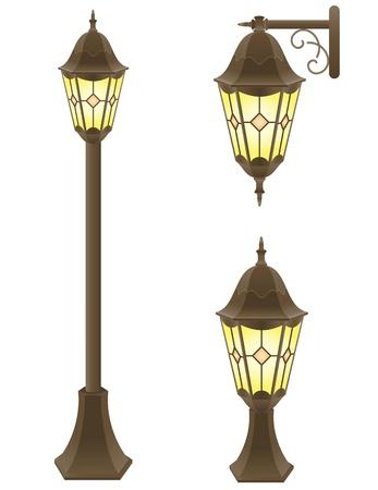 electricity post: streetlight illustration isolated on white background Stock Photo