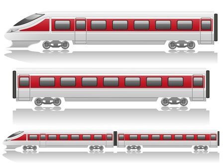 intercity: speed train locomotive and wagon illustration isolated on white background