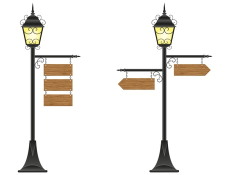 hanging out: wooden boards signs hanging  on a streetlight illustration isolated on white background Stock Photo