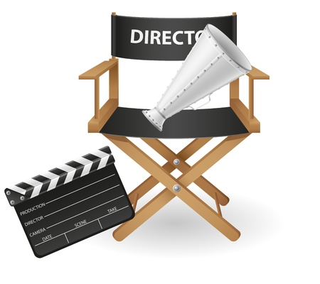 movie director: set icons cinematography cinema and movie vector illustration isolated on white background Stock Photo
