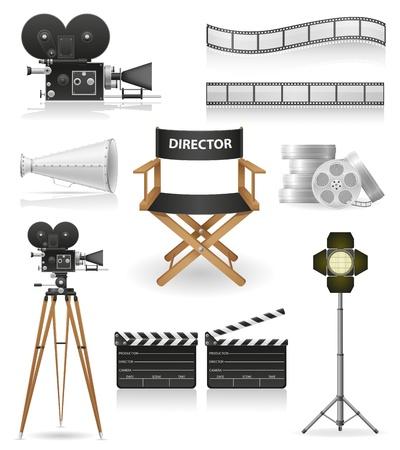 establecer los iconos del cine cinematograf�a y la ilustraci�n vectorial pel�cula aislada en el fondo blanco