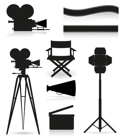 camara de cine: iconos silueta cine cinematografía y la ilustración vectorial película aislada en el fondo blanco Foto de archivo