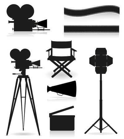 movie camera: set icons silhouette cinematography cinema and movie vector illustration isolated on white background Stock Photo