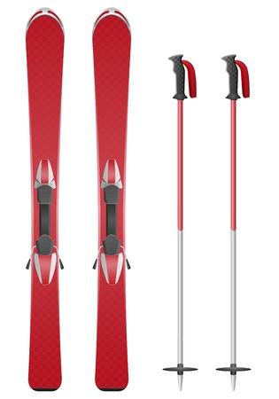 ski slopes: sci e bastoncini vettoriale illustrazione isolato su sfondo bianco