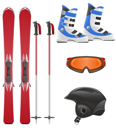 downhill skiing: ski equipment icon set vector illustration isolated on white background Stock Photo