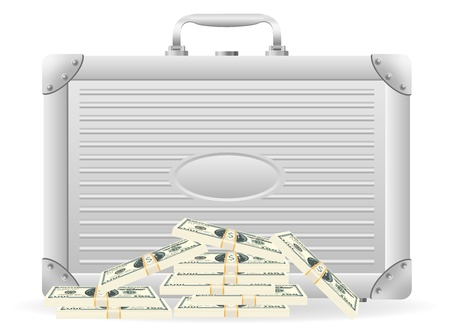 metallic briefcase with packed dollars  illustration isolated on white background Stock Illustration - 16784352