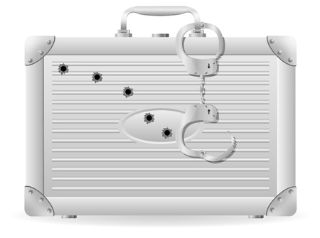 metal suitcase with handcuffs riddled with bullets  illustration isolated on white background illustration