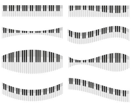 teclas del piano para las diferentes formas de dise�o ilustraci�n vectorial aislados en fondo blanco