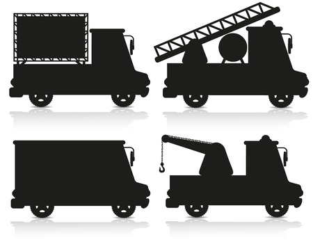 tow truck: car icon set black silhouette  illustration isolated on white background
