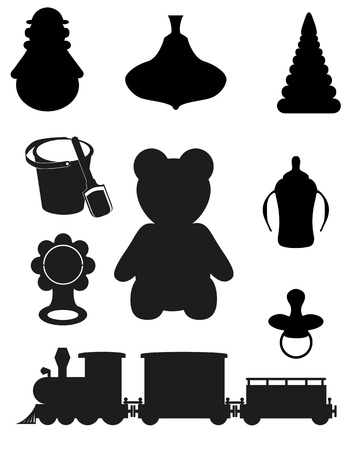 cute teddy bear: icon of toys and accessories for babies and children black silhouette  illustration Stock Photo