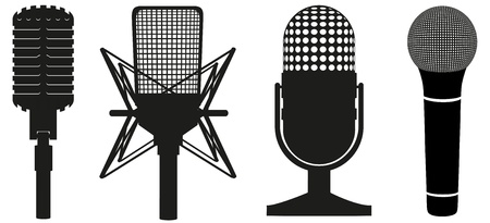 icon set of microphones black silhouette  illustration isolated on white background