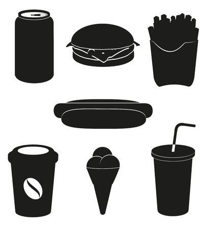 black sesame: set icons of fast food black silhouette  illustration isolated on white background