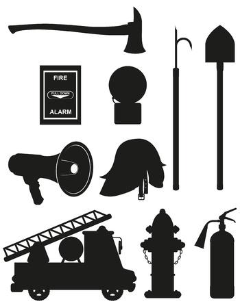 bombero de rojo: iconos conjunto de lucha contra incendios equipos silueta ilustraci�n negro aislado sobre fondo blanco Foto de archivo
