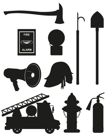fire truck: set icons of firefighting equipment black silhouette  illustration isolated on white background