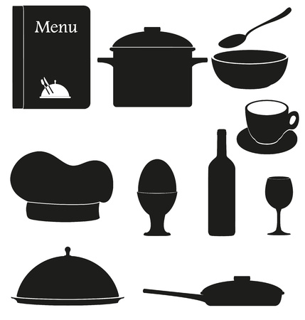 set kitchen icons for restaurant cooking black silhouette  illustration isolated on white background illustration