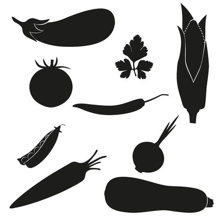 garden peas: set of icons vegetables black silhouette  illustration isolated on white background