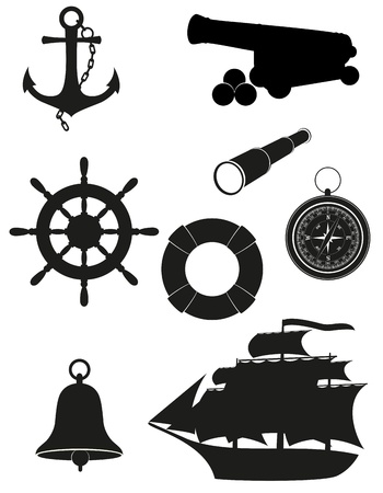 old ship: set of sea antique icons black silhouette  illustration isolated on white background