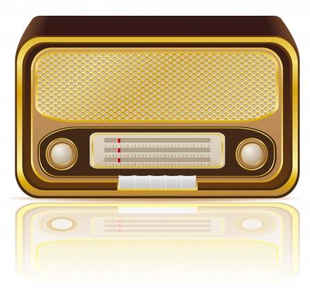 portative: retr� illustrazione vettoriale Radio isolato su sfondo bianco