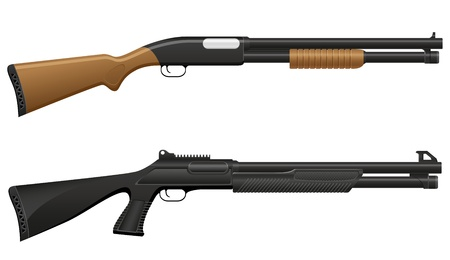 black powder pistol: shotgun illustration isolated on white background Stock Photo