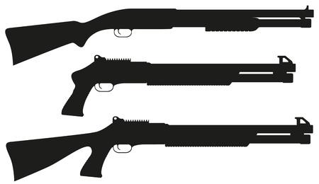 black powder pistol: shotgun black silhouette  illustration isolated on white background