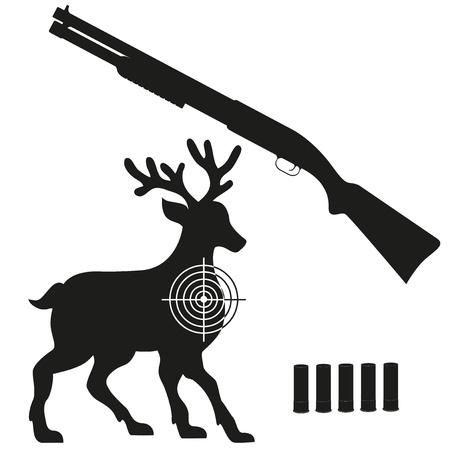 black powder pistol: shotgun and aim on a deer black silhouette illustration isolated on white background Stock Photo