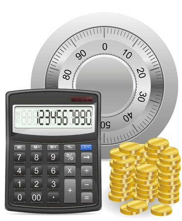 calculator safe and gold coins concept vector illustration isolated on white background Stock Illustration - 17689090