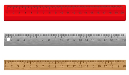 rulers made of plastic wooden and metal illustration isolated on white background