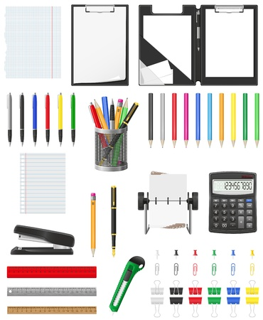 stationery set icons illustration isolated on white background illustration