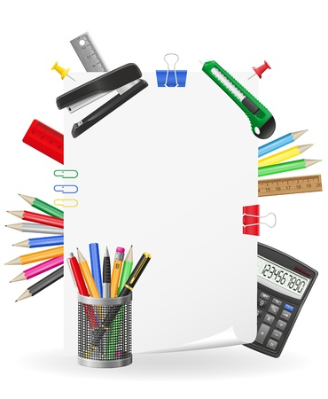 stationery set icons  illustration isolated on white background Stock Illustration - 17689128