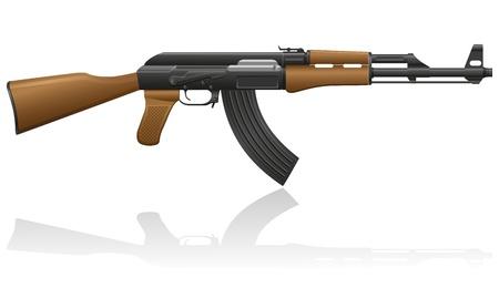 automatic: automatic machine AK-47 Kalashnikov vector illustration isolated on white background